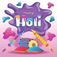 Holi-Grüße mit lustigen Elementen vektor