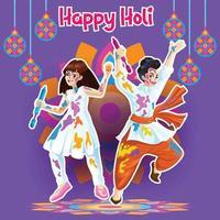 Holi-Grüße mit freudigen Tänzern in einem feierlichen Hintergrund vektor