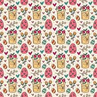 Nahtloses Muster, Textur, Hintergrund des Osterfeiertags. Kuchen, Kräuter, Eier, Blumen und Herzen. Kinderverpackungsdesign, Papier. vektor