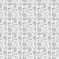 Nahtloses Muster, Textur, Hintergrund des Osterfeiertags. monochromes Design. Kaninchen, Kuchen, Muffin, Kraut, Ei, Nest, Blume und Herz. Kinderverpackungsdesign, Papier. vektor
