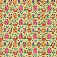 Nahtloses Muster, Textur, Hintergrund des Osterfeiertags. Kräuter, Eier im Korb, Blume im Topf, Herzen. Kinderverpackungsdesign, Papier. isoliert vor dem Hintergrund. vektor