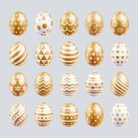 påskägg sätter guldfärg med olika och mönster konsistens. vektor illustrationer.