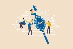 Digitales Marketing, SEO, Suchmaschinenoptimierung oder soziale Medien, um das Online-Benutzerkonzept, junge Leute, Werbeagenturmitarbeiter, die im Internet arbeiten, und die digitale Leitung mit SEO-Lupe einzubeziehen vektor