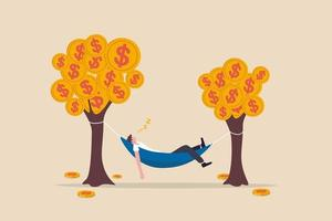 passives Einkommen, das ohne Anstrengung verdient, indem es Gewinn oder Dividende aus Investitionen erzielt und das Konzept der finanziellen Freiheit erreicht vektor