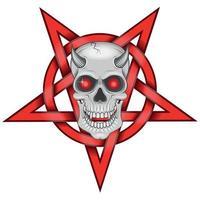 detailliertes Design des bösen Schädels und des ineinander verschlungenen Pentagramms vektor