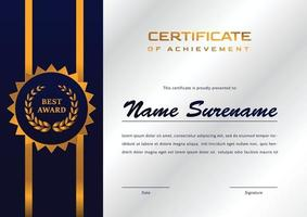 certifikatmall för prestation och uppskattning vektor