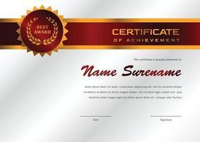 certifikatmall för prestation och uppskattning