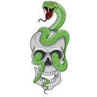 Vektordesign des Schädels mit Schlange vektor