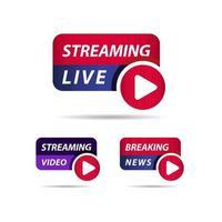 Live-Streaming, aktuelle Nachrichten Label Vektor Vorlage Design Illustration