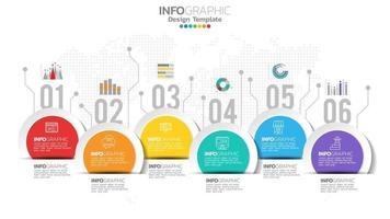 Infografik 6 Schritte Kreiselement mit Zahlen- und Diagrammdiagramm, Geschäftsdiagrammdesign. vektor