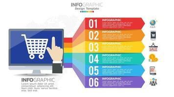 Online-Shopping-Infografik mit 6 Schritten Elementdiagramm Diagramm Business Graph Design. vektor