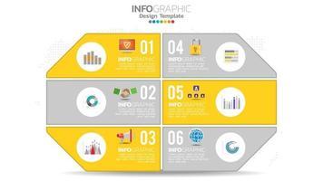Infografik 6 Schritt gelbes Farbelement mit Kreis Grafik Diagramm Diagramm, Business Graph Design. vektor