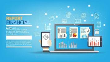 Laptop mit Grafiken und Diagrammen auf dem Bildschirm, Buchhaltung, Analyse, Prüfung, Forschung, Ergebnisse. vektor
