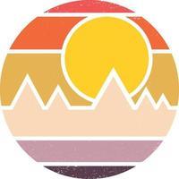 Vintage Retro gestreifte Sonnenuntergang Hintergrund ClipArt vektor