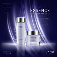 realistische kosmetische Werbung editierbares Banner auf lila Hintergrund vektor