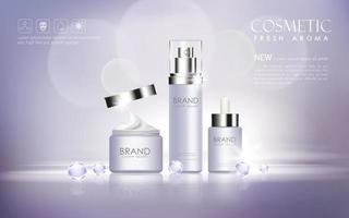 realistische kosmetische Werbung bearbeitbares Banner vektor