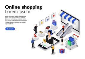 isometrisk platt webbmall för online shopping vektor