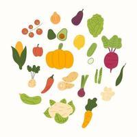 vektor tecknad samling av vegetabiliska handritad. platt tecknad vektor isolerad på vit bakgrund.