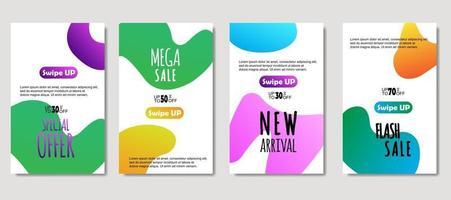 dynamische abstrakte flüssige mobile zum Verkauf Banner. Verkauf Banner Vorlage Design, Mega Sale Sonderangebot Set. Design für Flyer, Geschenkkarte, Poster an der Wand, Deckbuch, Banner, Social Media vektor