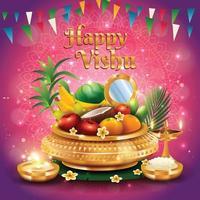 fröhliches Vishu-Konzept mit sehr schönen Ornamenten vektor