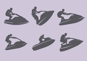 Jet Ski Silhouette Set Illustration
