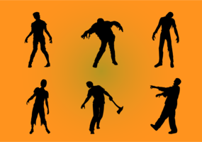 Zombiesilhouetteset vektor
