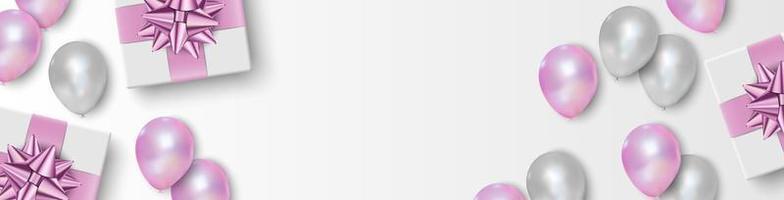 Geschenkbox, rosa und weiße Luftballons auf weißem Hintergrund, Vektorillustration vektor