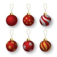 uppsättning julboll på vit bakgrund, vektorillustration