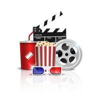 Kinohintergrundkonzept, Kinoobjekt lokalisiert auf weißem Hintergrund, Vektorillustration vektor