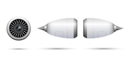 realistisches Turbostrahltriebwerk des Flugzeugs lokalisiert auf weißem Hintergrund, Vektorillustration vektor