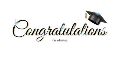 Grattis tecken för examen med examen universitet eller college svart mössa, vektorillustration