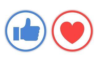 Design-Ikone mögen und lieben mit Kreislinie vektor