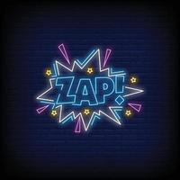 zap Neonzeichen Stil Textvektor vektor