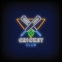 Cricket Club Logo Leuchtreklamen Stil Text Vektor