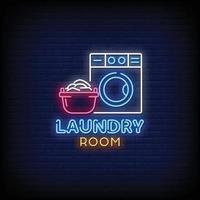 Waschraum Logo Neonschilder Stil Text Vektor