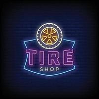 Reifen Shop Logo Leuchtreklamen Stil Text Vektor