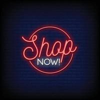 shoppa nu design neonskyltar stil text vektor