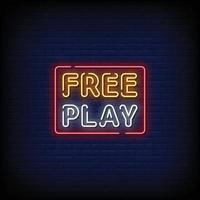 fritt spel design neonskyltar stil text vektor