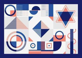abstrakte blaue und orange geometrische Musterrechtecke, Dreieck, Quadrate und Kreise formen Design auf weißem Hintergrund.