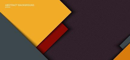 Banner Web Template Design gelbe, graue quadratische Überlappungsschicht mit roten Streifen mit Schatten auf Gitterhintergrund. vektor