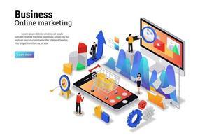 digitalt marknadsföringskoncept med karaktär för webbplatsens målsida och mobilmall vektor