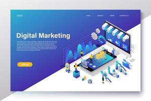 isometrisk digital marknadsföringskoncept med karaktär för webbplatsens målsida och mobilmall vektor