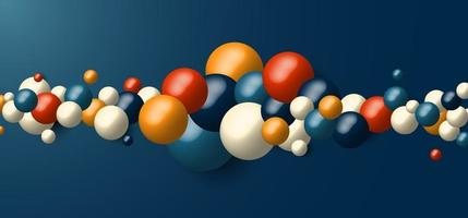 3D realistische dynamische Formen vieler geometrischer Kugeln auf blauem Hintergrund vektor