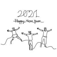 glückliche Männer und Frauen begrüßen das neue Jahr fortlaufend eine Strichzeichnung. männlich und weiblich im Neujahrspartykonzept lokalisiert auf weißem Hintergrund. Wir feiern das neue Jahr 2021. Vektorillustration vektor