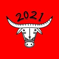 2021 frohes neues Jahr. Ochse, Kuh, Stierköpfe lokalisiert auf rotem Hintergrund. Mondkalender-Maskottchen des östlichen chinesischen Jahres. chinesische Grußkarte Vektor Postkarte, Banner, Poster. Abbildung für den Kalender