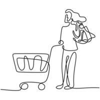 eine durchgehende Linie, die glückliche junge Frauen zeichnet, die zusammen am Supermarkt einkaufen und Wagen schieben. Einkaufen auf dem Markt für den täglichen Bedarf. monatliches Ausgabenkonzept. Vektor-Design-Illustration vektor