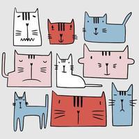 niedlicher Satz von Katzentieren mit unterschiedlichem Gesichtsausdruck. bunter Cartoon im kindlichen Charakter der glücklichen Tierhaustiere. Hand gezeichnete Vektorillustration lokalisiert auf hellem Hintergrund. Liebe Haustiere Konzept vektor