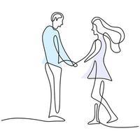 kontinuerlig en linje ritning av lyckliga unga par som står och håller händerna ihop. älskande par kvinna och man i romantisk pose isolerad på vit bakgrund. vektor minimalism design illustration