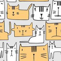nahtloses Muster mit verschiedenen lustigen Katzen. niedlicher Kätzchenpfotenkopf mit schläfrigen Ausdrücken lokalisiert im grauen Hintergrund. Kinderzimmer Design im skandinavischen Stil. Tiervektor-Hintergrundschablone für Kinder