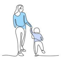 eine einzelne Strichzeichnung der jungen glücklichen Mutter, die ihren Sohn hält. eine Mutter, die zusammen mit ihrem Kind zu Hause spielt, isoliert auf weißem Hintergrund. Konzept der Familienelternschaft. Vektorillustration vektor